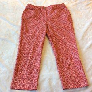 Chicos Crop Pants Size 0.5 = 6 White Red Capri